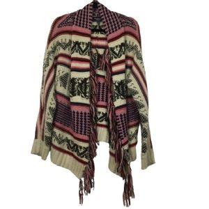 AEO Aztec Knit Open Front Cardigan in Cream Multi